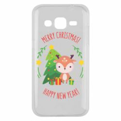 Чехол для Samsung J2 2015 Happy new year and deer