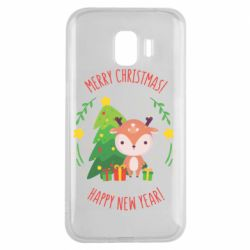 Чехол для Samsung J2 2018 Happy new year and deer