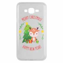 Чехол для Samsung J7 2015 Happy new year and deer