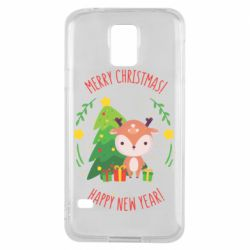 Чехол для Samsung S5 Happy new year and deer