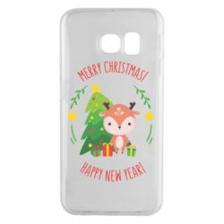 Чехол для Samsung S6 EDGE Happy new year and deer