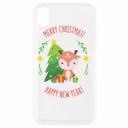 Чехол для iPhone XR Happy new year and deer