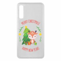 Чехол для Samsung A7 2018 Happy new year and deer