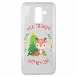 Чехол для Samsung J8 2018 Happy new year and deer