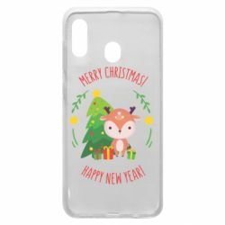 Чехол для Samsung A20 Happy new year and deer
