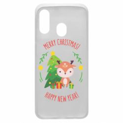 Чехол для Samsung A40 Happy new year and deer