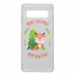 Чехол для Samsung S10 Happy new year and deer