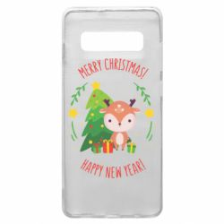 Чехол для Samsung S10+ Happy new year and deer