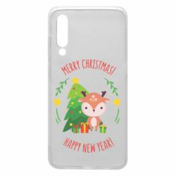 Чехол для Xiaomi Mi9 Happy new year and deer