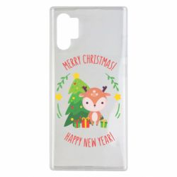 Чехол для Samsung Note 10 Plus Happy new year and deer