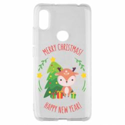 Чехол для Xiaomi Redmi S2 Happy new year and deer