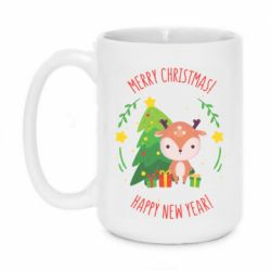 Кружка 420ml Happy new year and deer