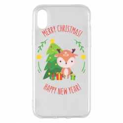 Чехол для iPhone X/Xs Happy new year and deer