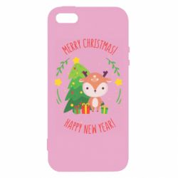 Чехол для iPhone5/5S/SE Happy new year and deer