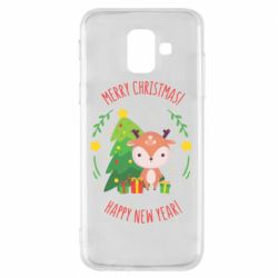 Чехол для Samsung A6 2018 Happy new year and deer