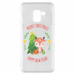 Чехол для Samsung A8 2018 Happy new year and deer