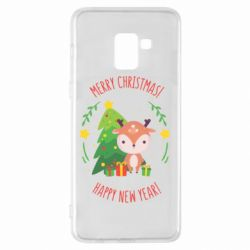 Чехол для Samsung A8+ 2018 Happy new year and deer