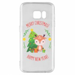 Чехол для Samsung S7 Happy new year and deer