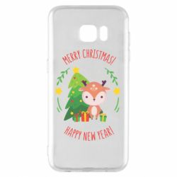 Чехол для Samsung S7 EDGE Happy new year and deer