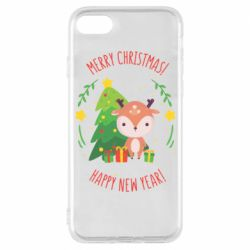 Чехол для iPhone 8 Happy new year and deer