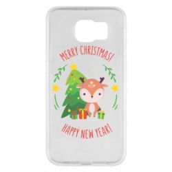 Чехол для Samsung S6 Happy new year and deer