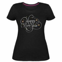Жіноча стрейчева футболка Happy new year and stars