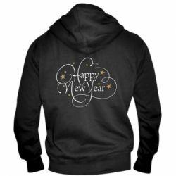 Чоловіча толстовка на блискавці Happy new year and stars