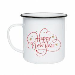 Кружка емальована Happy new year and stars