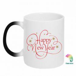 Кружка-хамелеон Happy new year and stars