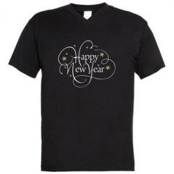 Чоловіча футболка з V-подібним вирізом Happy new year and stars