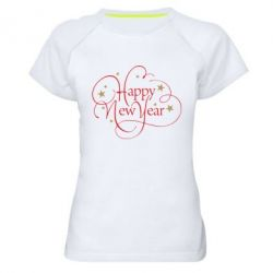Жіноча спортивна футболка Happy new year and stars