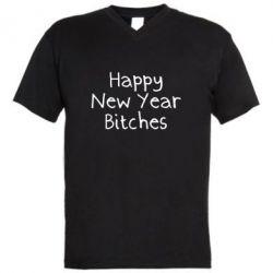 Чоловіча футболка з V-подібним вирізом Happy New Year bitches