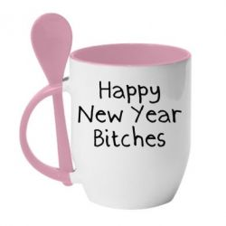 Кружка з керамічною ложкою Happy New Year bitches