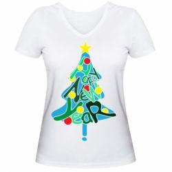 Жіноча футболка з V-подібним вирізом Happy new year on the tree