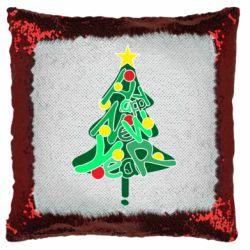 Подушка-хамелеон Happy new year on the tree
