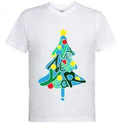 Чоловіча футболка з V-подібним вирізом Happy new year on the tree