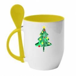 Кружка з керамічною ложкою Happy new year on the tree