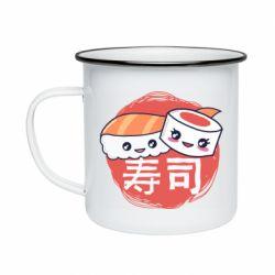 Кружка эмалированная Happy sushi