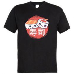 Мужская футболка  с V-образным вырезом Happy sushi