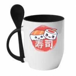 Кружка с керамической ложкой Happy sushi