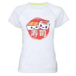 Женская спортивная футболка Happy sushi