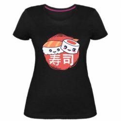 Женская стрейчевая футболка Happy sushi