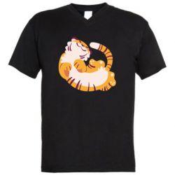 Чоловіча футболка з V-подібним вирізом Happy tiger