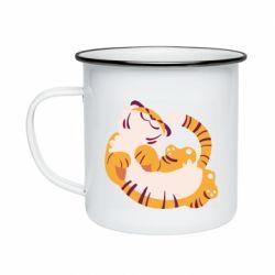 Кружка емальована Happy tiger