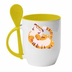 Кружка с керамической ложкой Happy tiger