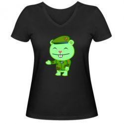 Женская футболка с V-образным вырезом happy tree friends flippy - FatLine