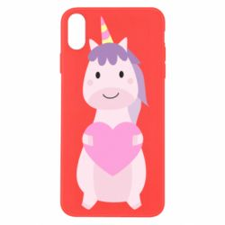 Чехол для iPhone X/Xs Happy unicorn with a heart