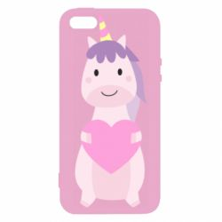 Чехол для iPhone5/5S/SE Happy unicorn with a heart