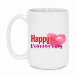 Кружка 420ml Happy valentines day and heart watercolor