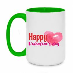 Кружка двухцветная 420ml Happy valentines day and heart watercolor